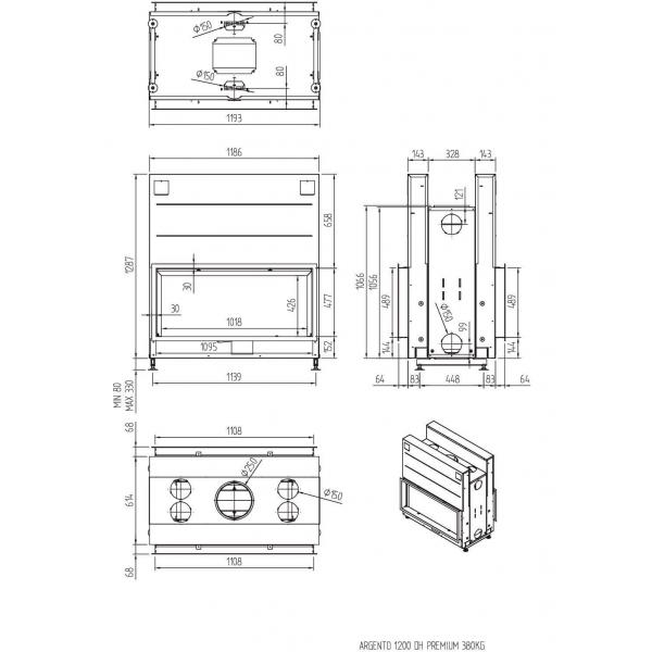 ТОПКА LUNA 1200DН ARGENTO (BASIC/PREMIUM)